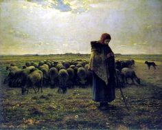 Shepherdess with her flock by Jean François Millet, 1864  ArtExperienceNYC   www.artexperiencenyc.com