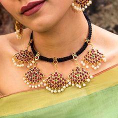 Short Necklace, Necklace Set, Motif Design, Floral Design, Temple Jewellery, Geometric Patterns, Festival Wear, Wow Products, Wedding Wear