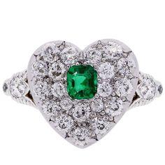 Tiffany & Co. Emerald Diamond Gold Platinum Heart Ring