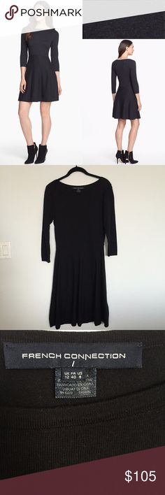 """NWOT French Connection Bambi Fit & Flare Dress Cotton-blend knit takes this fun and flirty skater-style dress from office days to chilly nights out with breathless ease. 33 1/2"""" length. Slips on over head. Unlined. 74% cotton, 16% viscose rayon, 10% acrylic. Hand wash cold, lay flat to dry. Dresses. Color: Charcoal Melange - BRAND NEW WITHOUT TAGS - NEVER WORN! French Connection Dresses Long Sleeve"""