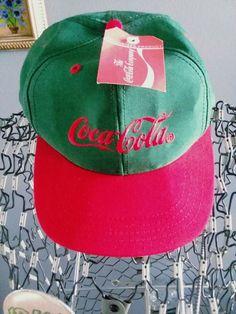 4024d6cbf67bca Vintage Coca-Cola Green & Red Cotton Snapback Adjustable Coke Hat Cap NWT