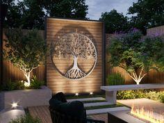 Modern Outdoor Wall Art, Outdoor Art, Outdoor Walls, Outdoor Metal Wall Decor, Outdoor Shelves, Modern Fence, Large Metal Wall Art, Metal Wall Art Decor, Metal Art