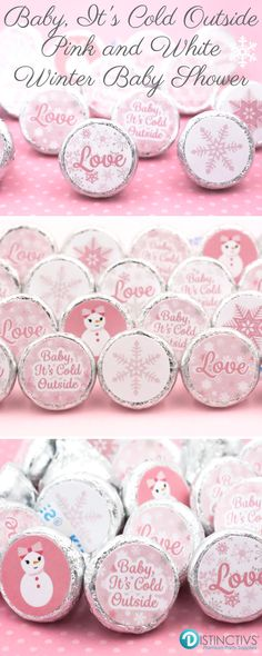 Pink and White Candy Wrapper Stickers for Hershey Kisses and other small candies.  Make the prefect winter baby shower treat.  #babyitscoldoutside #itsagirl #girlbabyshower