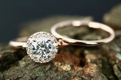 Ceritified Diane 6mm & Peggy Round Cut Forever Brilliant Moissanite 14k Rose Gold Halo Engagement Ring with Plain Rose Gold Band by loveforeverjewelrysv on Etsy
