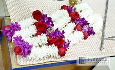 rose, mum, and orchid jai mala garlands, indian weddings