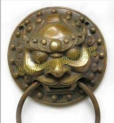 Chinese copper brass foo dog head door knocker $38