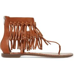 Sam Edelman Griffen fringed leather sandals ($94) ❤ liked on Polyvore featuring shoes, sandals, brown, fringe shoes, real leather shoes, brown fringe sandals, leather fringe shoes and almond toe shoes