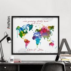 The 109 best world map posters images on pinterest room wall decor wedding map wedding gift wedding guestbook by iprintposters gumiabroncs Choice Image
