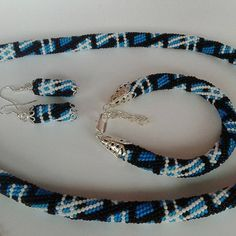 Scottish cell beaded crochet jewelry set , handmade, beadwork bracelet necklase by KaznovskaOlhaDesign on Etsy