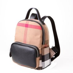 College Style Plaid Striped Canvas Splice Backpack Schoolbag