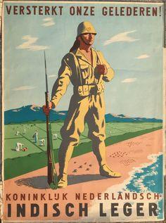 K.N.I.L. recruitment poster Versterkt onze gelederen!, Koninklijk Nederlandsch-Indisch Leger (Strengthens our ranks!, Royal Dutch East Indies Army) K.N.I.L.recruitment propaganda poster for the liberation of the Dutch East Indiesc.1945 Lithograph, designed by Wim Oepts (1904-1988),Size 76...