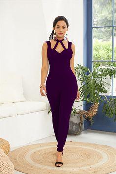 Hualong Sexy Purple Sleeveless Halter Bodycon Jumpsuit 2