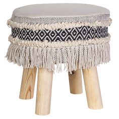 Boho Foot Stool Our foot stool are made from high quality natural eco-friendly linen cotton. The sides are decorated with contrasting fabric & tassels. The