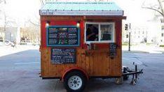 Custom food trailer by Caged Crow. Adorable cottage design mobile kitchen. #custom #foodtrailer #foodconcession