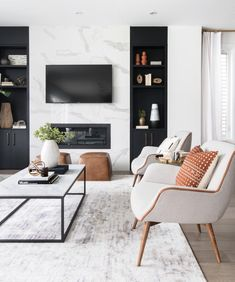 Modern but cozy living room design by Ottawa based interior design firm, Leclair. Modern but cozy living room design by Ottawa based interior design firm, Leclair Decor. Living Room Goals, Cozy Living Rooms, Home Living Room, Interior Design Living Room, Living Room Designs, Living Room Decor, Modern Living Room Design, Modern Interior, Living Room Ideas 2019