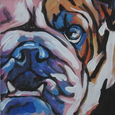 English Bulldog art print modern Dog pop dog art print bright colors 12x12 inch