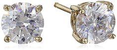 Platinum-Plated Sterling Silver Swarovski Zirconia (2cttw) Round Stud Earrings
