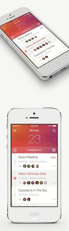 Apple. iPhone. iOS7. Red White. Glossy. Concept. App. New. Fresh. Simple. Minimal. Clean. Industrial. Calendar. Big Print. Date. Month. List. Activities. Beauty. Modern. UI / UX. Interface. Phone.