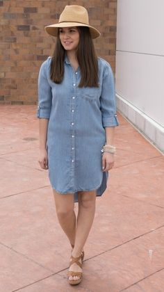 How to wear a denim dress: pair with wedges and a cute sun hat!  #xoxoAL4You #sundayfunday #shopALB