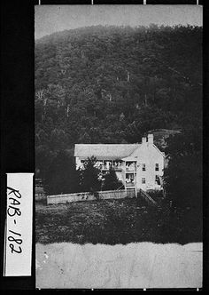 """Rabun County, ca. 1890s. View of the York House. It was located about a mile north of Passover, which in 1907 became known as Mountain City. (I live only about a mile up the York House road. Go by this every day. My great grandmother's father, Lafayette """"Fate"""" Wilburn single handedly built the sign. It still stands in its original form and place.)"""