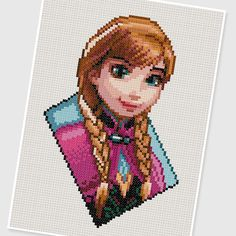 PDF Cross Stitch pattern 0206.Princess Anna (Frozen) by PDFcrossstitch