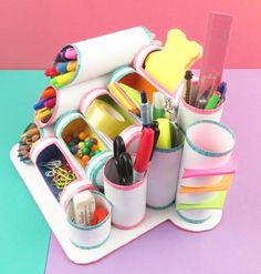 Pin on manualidades Diy Crafts For Girls, Diy Crafts Hacks, Diy Home Crafts, Diy Craft Projects, Diy For Kids, Fun Crafts, Paper Roll Crafts, Cardboard Crafts, Craft Organization