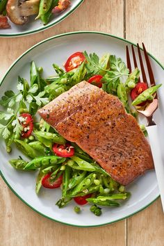 Gingery Snap Pea Slaw with Seared Salmon  - CountryLiving.com