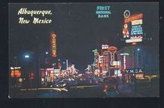 1950's CARS ALBUQUERQUE NEW MEXICO DOWNTOWN STREET SCENE AT NIGHT OLD POSTCARD