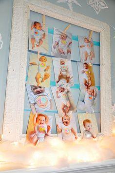 winter sparkle snowflake first birthday party photo dislplay