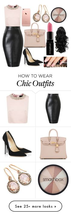 """""""Untitled #117"""" by reaxoxo on Polyvore featuring Ted Baker, Jimmy Choo, Hermès and Smashbox"""