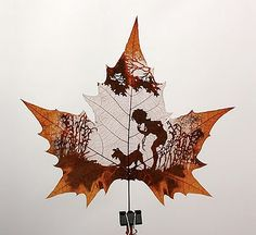 Leaf carving art is one of the newest art forms in recentyears. Its inspiration comes from the beauty of nature, something we can all appreciate. These ones were created from the Chinar tree, which is native to India, Pakistan and China.