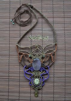 Macrame necklace Sacred Totem with Amethyst by MahakashiCreations