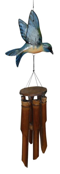 Cohasset 187B Glossy Finish Blue Bird Bamboo Wind Chime : Patio, Lawn & Garden