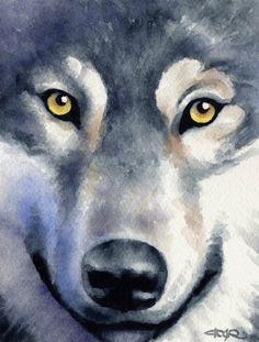 Lobo Wildlife Art impresión firmada por artista DJ por k9artgallery