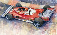 Yurly Shevchuk   WATERCOLOR    Ferrari 312 T2 Niki Lauda 1977 Monaco Gp Painting