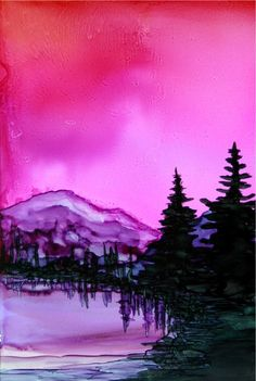 Mountain Lake - alcohol ink by ©Cindy Howe (ArtworksEclectic) via Etsy