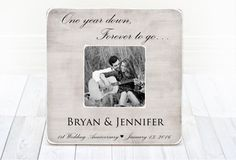 PERSONALIZED picture frame 1st Anniversary Gift by BrandonScottAD