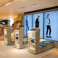 Design showcase: Adidas puts customer interaction on a pedestal - Retail Design World Kiosk Design, Signage Design, Display Design, Booth Design, Retail Design, Store Design, Signage Display, Digital Kiosk, Digital Retail