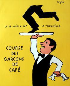 Savignac, Raymond poster: Course des Garcons de Cafe - Trouville