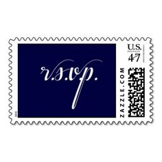 RSVP Wedding Party Chic Clean Navy Postage