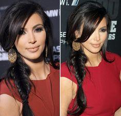 kim kardashian_trança_franja_linda