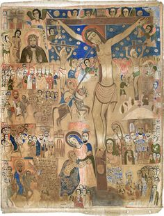 The Crucifixion of Christ / Ethiopian Mid century Religious Pictures, Religious Icons, Religious Art, Crucifixion Painting, Cross Tree, Images Of Christ, Christian Artwork, Byzantine Icons, African Artists