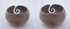 Hand Made Pottery Yarn Bowl Stoneware Yarn Bowl, Knitting Bowl, Raku
