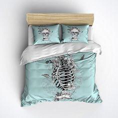 Ice Blue Skull Bedding - Skull Pillows and Skeleton Duvet Cover - Sugar Skull Duvet Cover with Flowers, Skull Bedding Set