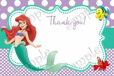 Little Mermaid Birthday Party Invitation Ariel FREE Thank You Card Invitations