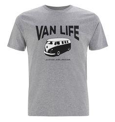 Van Life T2 logo T-Shirt - Volkswagen campervan, Bay window camper, VW Surf bus, classic splitscreen, splitty, surf bus, veedub by VANLIFESTORE on Etsy