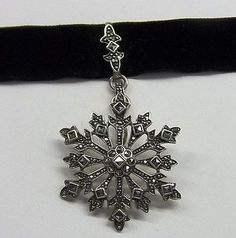 Large Sterling Silver 925 & Marcasite Snowflake Pendant /Choker Necklace