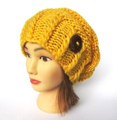 Slouchy beanie hat canary yellow wool slouch hats by Johannahats, $41.00