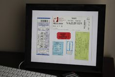 West-elm inspired artwork - frame your ticket stubs...or hotel key cards...or whatever else you want :)
