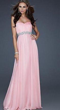 Cute Long Natural Strapless Sleeveless Chiffon Evening Dress Sale momodresses26513
